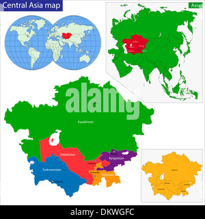 Kazakhstan Uzbekistan Kyrgyzstan map atlas country view regions