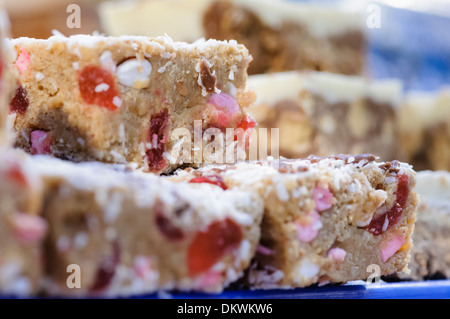 Fifteens, a traybake popular in Northern Ireland, made of marshmallow, coconut, cherries and biscuits. - Stock Photo