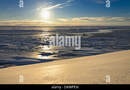 Ice and snow formations at the mouth of Sag river emptying into Prudhoe Bay Beaufort Sea Arctic Ocean Deadhorse - Stock Photo