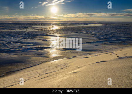 Ice and snow at the mouth of Sag river emptying into Prudhoe Bay Beaufort Sea Arctic Ocean Deadhorse Alaska USA - Stock Photo