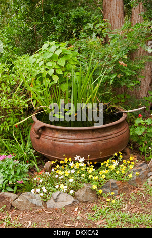 Large metal cauldron tub spectacular unique water for Large metal tub for gardening