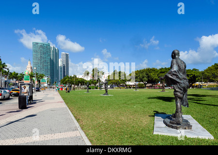 Bayfront Park on Biscayne Boulevard in downtown Miami, Florida, USA - Stock Photo