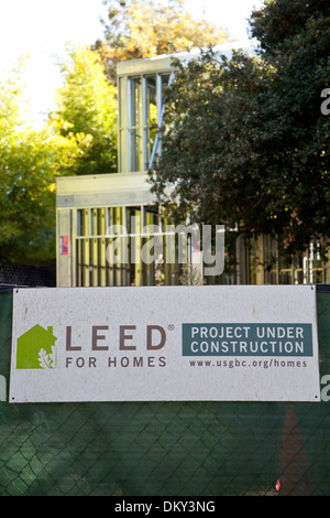 LEEd home construction sign in Los Angeles. - Stock Photo