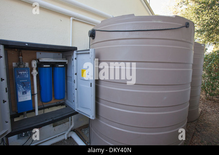 Rainwater harvesting system on a Green home that is off the grid. Los Angeles, California, USA - Stock Photo