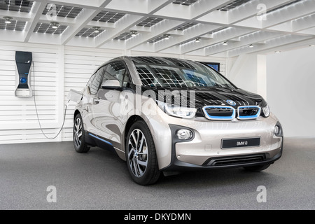 BMW i3 under solar carport, IAA Frankfurt, Germany - Stock Photo