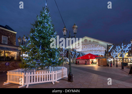Warrington town centre christmas lights. 2013 The Golden square showing the old fishmarket in the centre of town. - Stock Photo