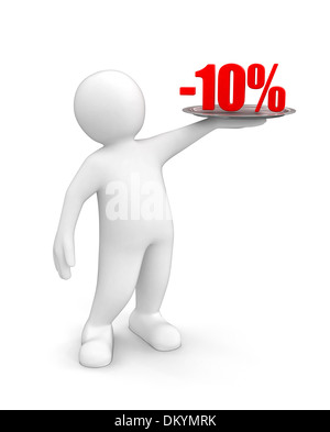 Man with Percent (clipping path included) - Stock Photo