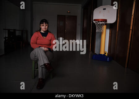 Feb. 28, 2013 - Greece - An adult woman with down syndrome. Trisomy 21 or commonly known as Down Syndrome is a genetic - Stock Photo
