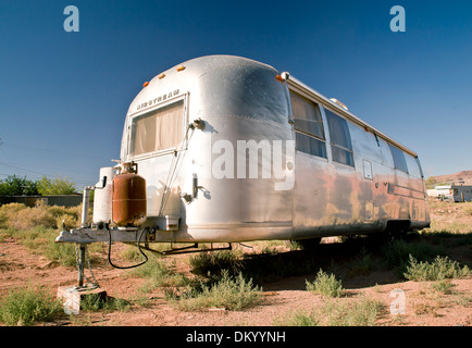 Trailer Park near Monument Valley, Mexican Hat, Utah, USA - Stock Photo