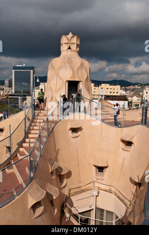Roof terrace, Casa Mila, or La Pedrera, by Antoni Gaudi, Barcelona, Catalonia, Spain - Stock Photo
