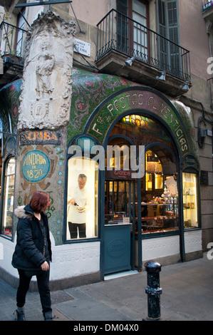 Pasteleria Escriba - Historic patisserie and cafe, La Rambla, Barcelona, Catalonia, Spain - Stock Photo