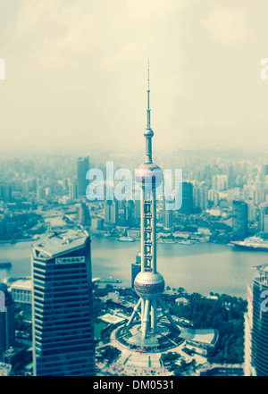 View of the Oriental Pearl Tower, Lujiazui financial district, Pudong, Shanghai, China - Stock Photo