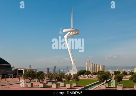 Telefonica Tower designed by Santiago Calatrava at Olympic ring, Montjuic, Barcelona, Catalonia, Spain - Stock Photo