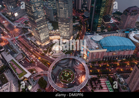 Cityscape, view of IFC, SWFC, Shanghai World Financial Center, Jin Mao Tower at night, Lujiazui, Pudong, Shanghai, - Stock Photo