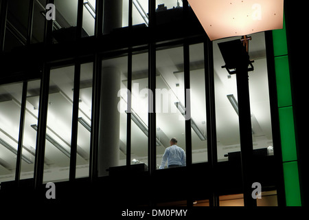 manager working in a modern office,Kranhaus ,crane building,Cologne,North Rhine-Westphalia,Germany - Stock Photo