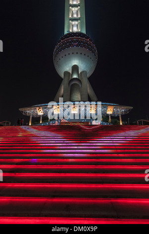 Oriental Pearl Tower at night, Lujiazui, Pudong, Shanghai, China - Stock Photo