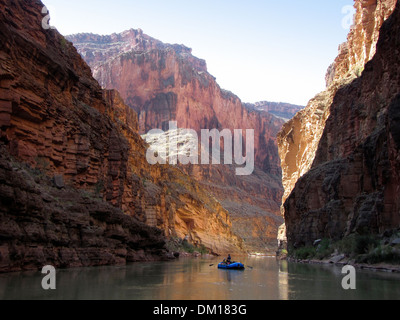 Lone raft in the Grand Canyon - Stock Photo