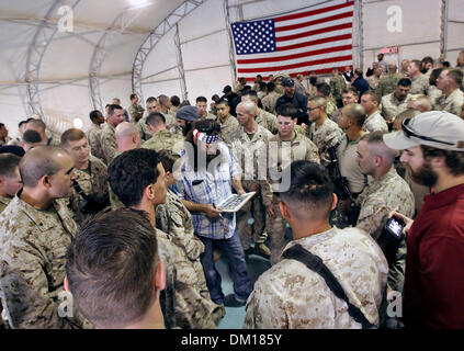 Duck Dynasty reality television star Willie Robertson signs autographs while visiting with US Marines December 10, - Stock Photo