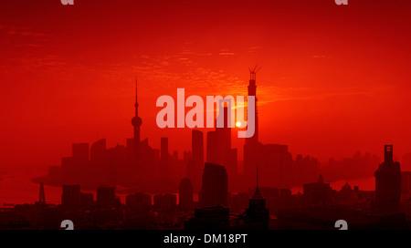 Cityscape, panorama, Pudong, Sunrise, Shanghai, China - Stock Photo