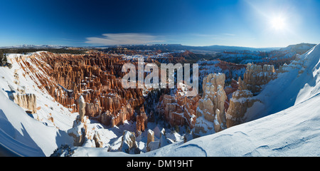the Amphitheatre of Bryce Canyon in winter, Utah, USA - Stock Photo