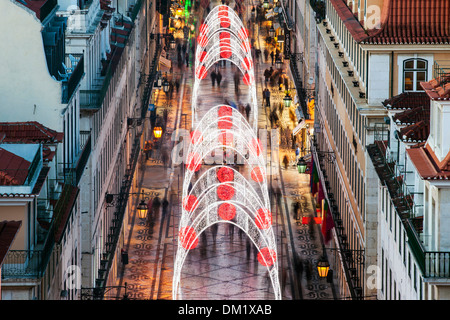 Christmas Lights in the Rua Augusta, Lisbon, Portugal, Europe - Stock Photo