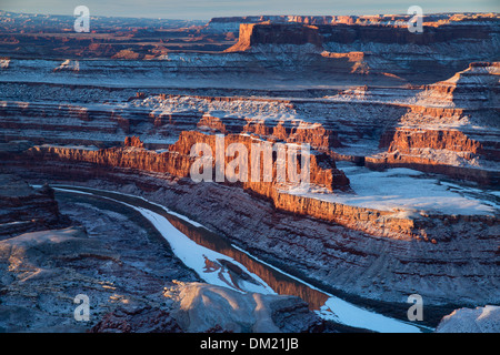 the Colorado Valley from Dead Horse Point at dawn, Utah, USA - Stock Photo