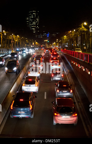 Evening rush hour traffic in the city of Brussels, Belgium - Stock Photo