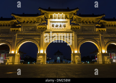 Front/main gate at the Chiang Kai-shek Memorial Hall at dusk in Taipei, Taiwan - Stock Photo