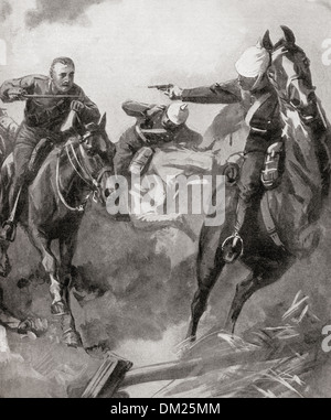 Furious charge of British cavalry at The Battle of Mons, 23rd August 1914 during WWI. - Stock Photo