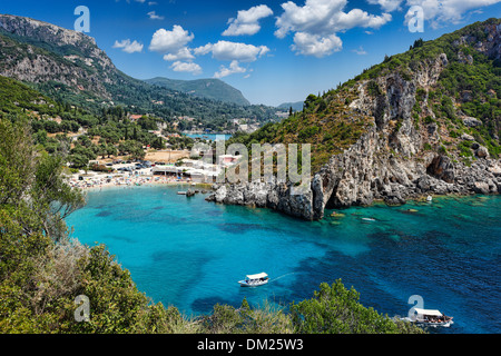Paleokastritsa bay at Corfu, Greece - Stock Photo