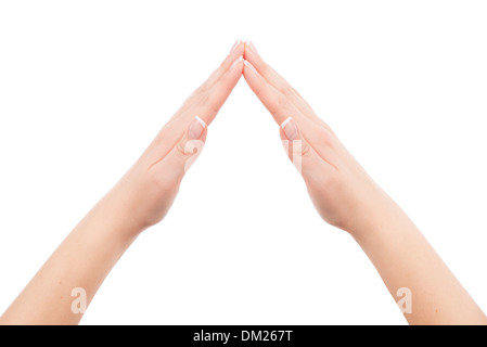 Woman hands showing home symbol gesture, isolated on white background. You can put any image or symbol between hands. - Stock Photo