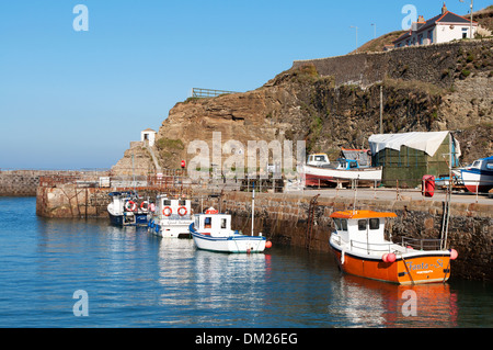 Fishing boats in the harbour at Portreath, Cornwall, UK - Stock Photo