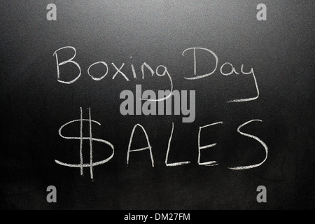 Close up of a blackboard with Boxing Day Sales written on it in chalk. - Stock Photo