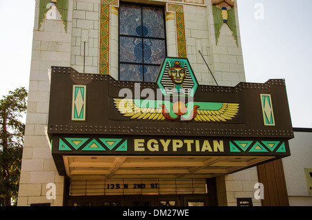 The historic Egyptian Theater in DeKalb, Illinois, a town along the Lincoln Highway, - Stock Photo