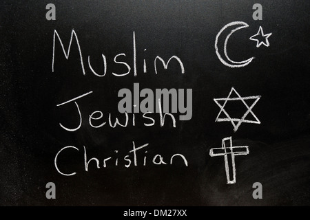 Close up of a blackboard with Muslim, Jewish and Christian written on it in chalk. - Stock Photo