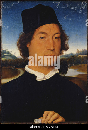 Hans Memling Memling - Portrait of an Unknown Man with a Letter - - Stock Photo
