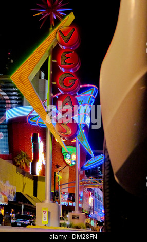 A long lens, night view of the neon on Fremont street,Las Vegas,Nevada - Stock Photo