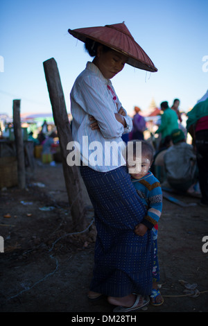 mother and child, Myanmar (Burma) - Stock Photo