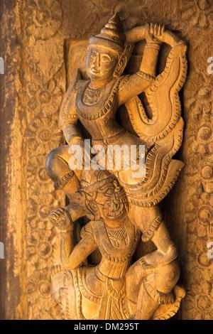 artwork on temple, Manderlay, Myanmar (Burma) - Stock Photo