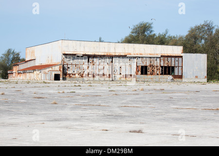 Midway seaplane hangar shelled in WWII on Dec 7, 1941 and set on fire by Japanese air attack Jun 4, 1942. - Stock Photo