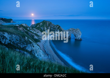 the supermoon rising over Durdle Door, Jurassic Coast, Dorset  England - Stock Photo