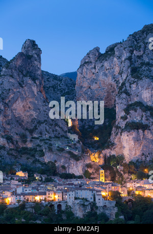 Moustiers-Sainte-Marie at dusk, Alpes-de-Haute-Provence, France - Stock Photo
