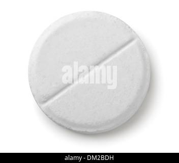 Single white pill isolated on white - Stock Photo