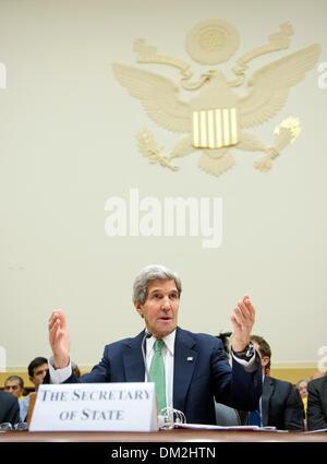 Washington DC, USA. 11th Dec, 2013. United States Secretary of State John F. Kerry testifies before the U.S. House - Stock Photo
