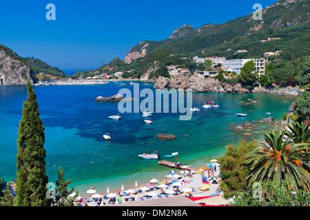 Palaiokastritsa bay at Corfu island in Greece - Stock Photo