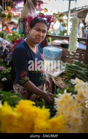 flower seller at the market at Pyin Oo Lwin, Shan Highland, Myanmar (Burma) - Stock Photo