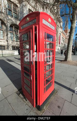 Iconic model K6 red telephone box, designed by Sir Giles Gilbert Scott, South Kensington, London, England, UK - Stock Photo