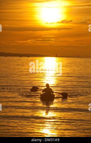 Switzerland, Europe, sundown, sunset, canoe, paddle boat, lake Constance, lake, - Stock Photo