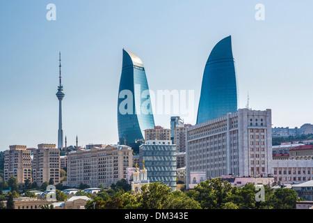 Azerbaijan Caucasus Eurasia Baku Building Parliament City world heritage Flame architecture government skyline towers - Stock Photo