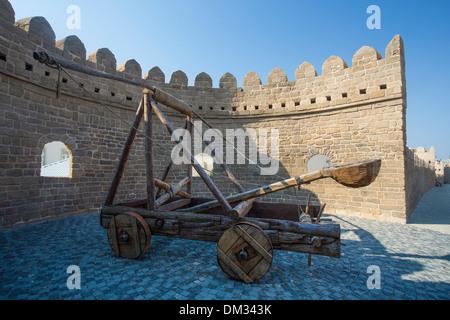 Azerbaijan Caucasus Eurasia Baku City world heritage Old Baku architecture catapult medieval touristic tower travel - Stock Photo